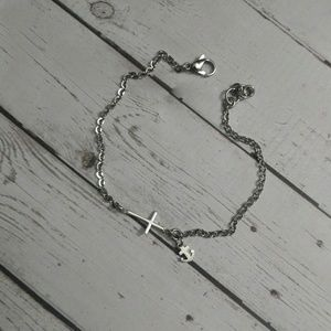 Jewelry - Sideways cross anklet with anchor